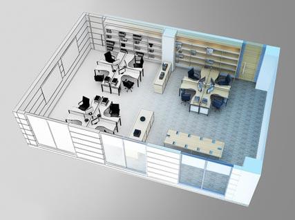 3D расстановка мебели в офисе